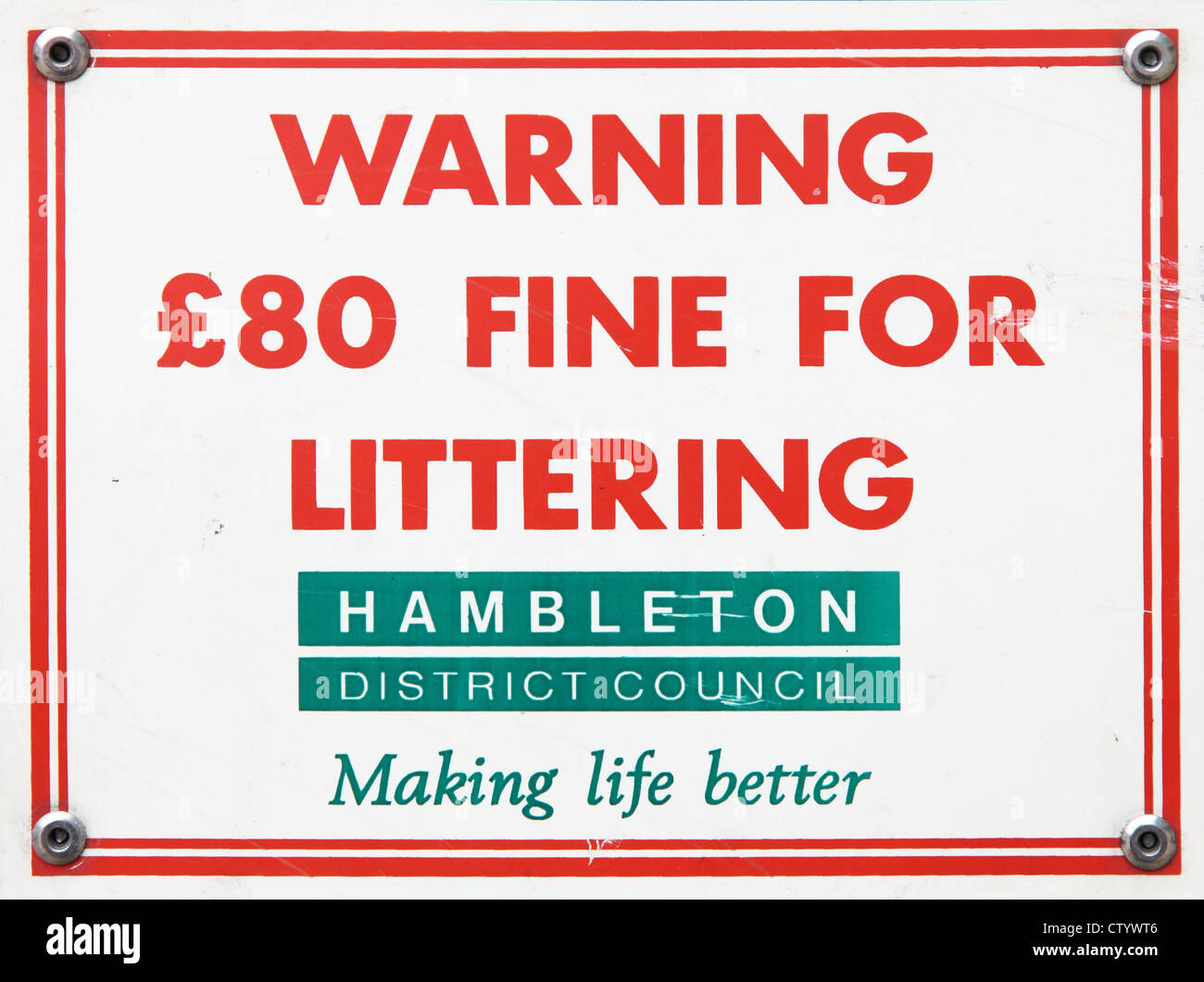 Notice warning £80 fine for littering Hambleton District Council Yorkshire England - Stock Image