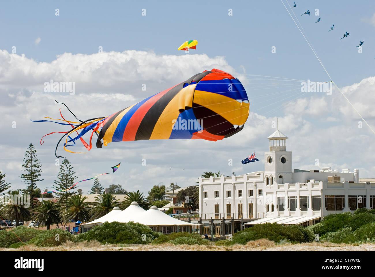 Adelaide Kite Festival held annually, Semaphore Beach, South Australia - Stock Image