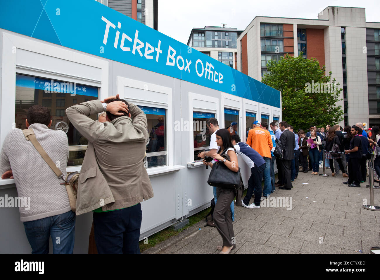 queues of london olympic games 2012 spectators at excel ticket box