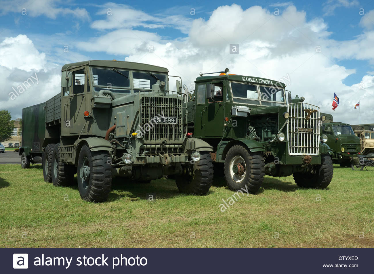 Scammell Explorer military recovery vehicles, at the Gloucestershire Steam & Vintage Extravaganza, UK. - Stock Image