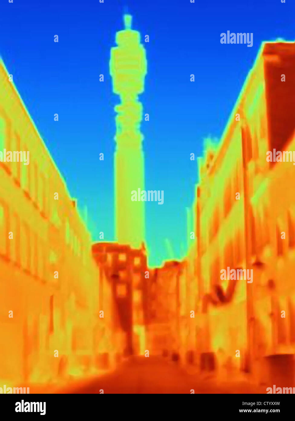 Thermal image of BT Tower - Stock Image