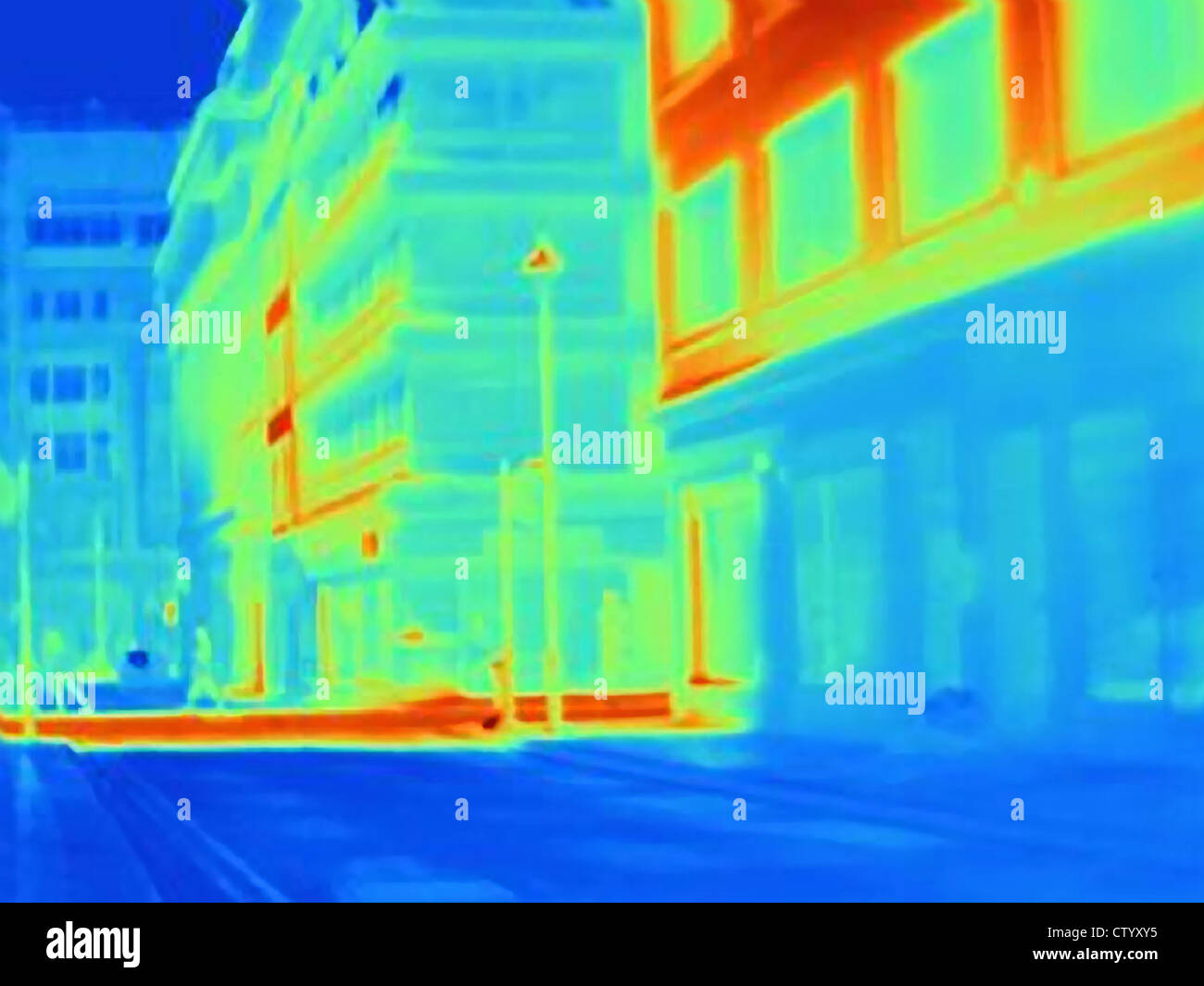 Thermal image of city street Stock Photo