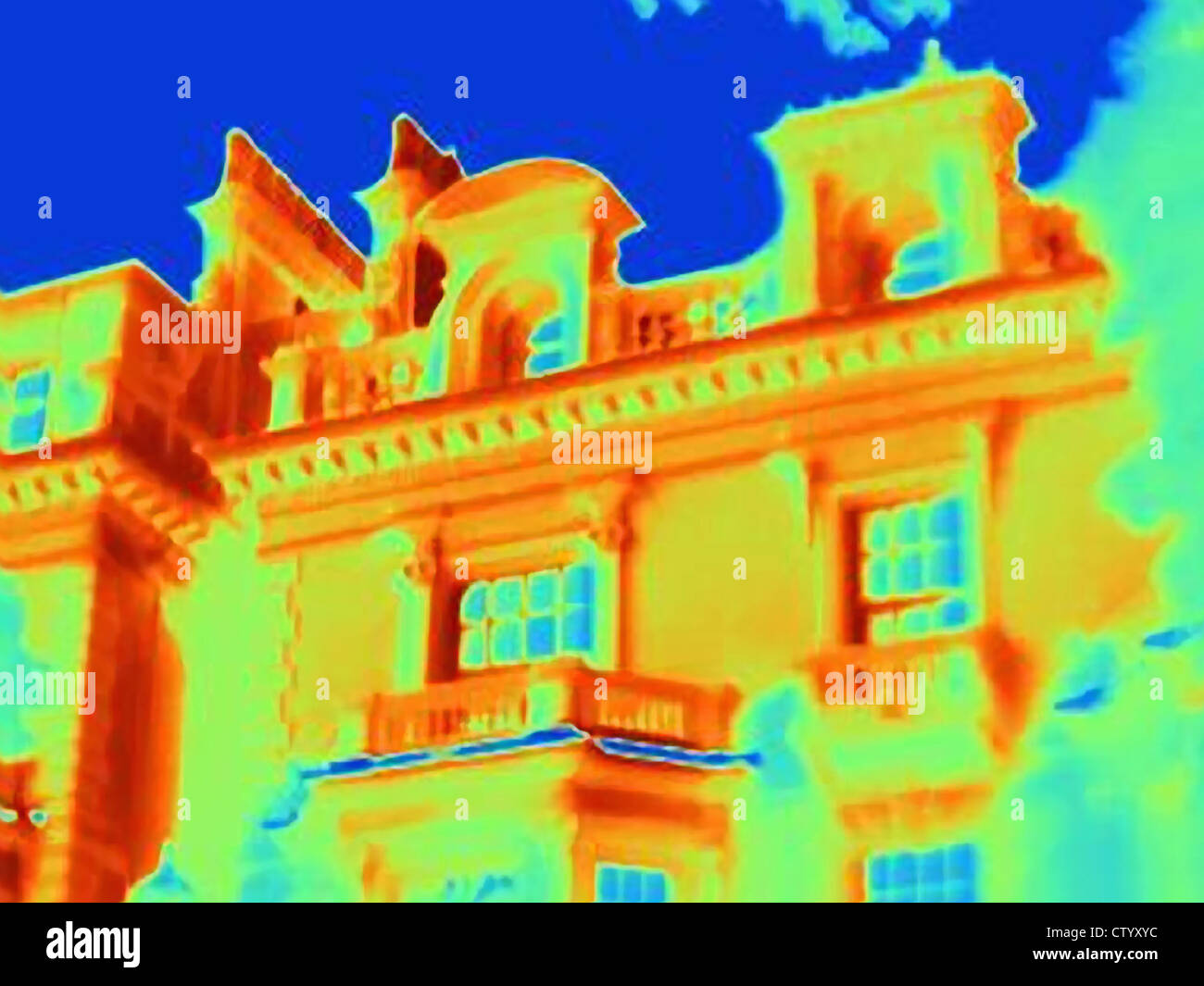 Thermal image of ornate building - Stock Image