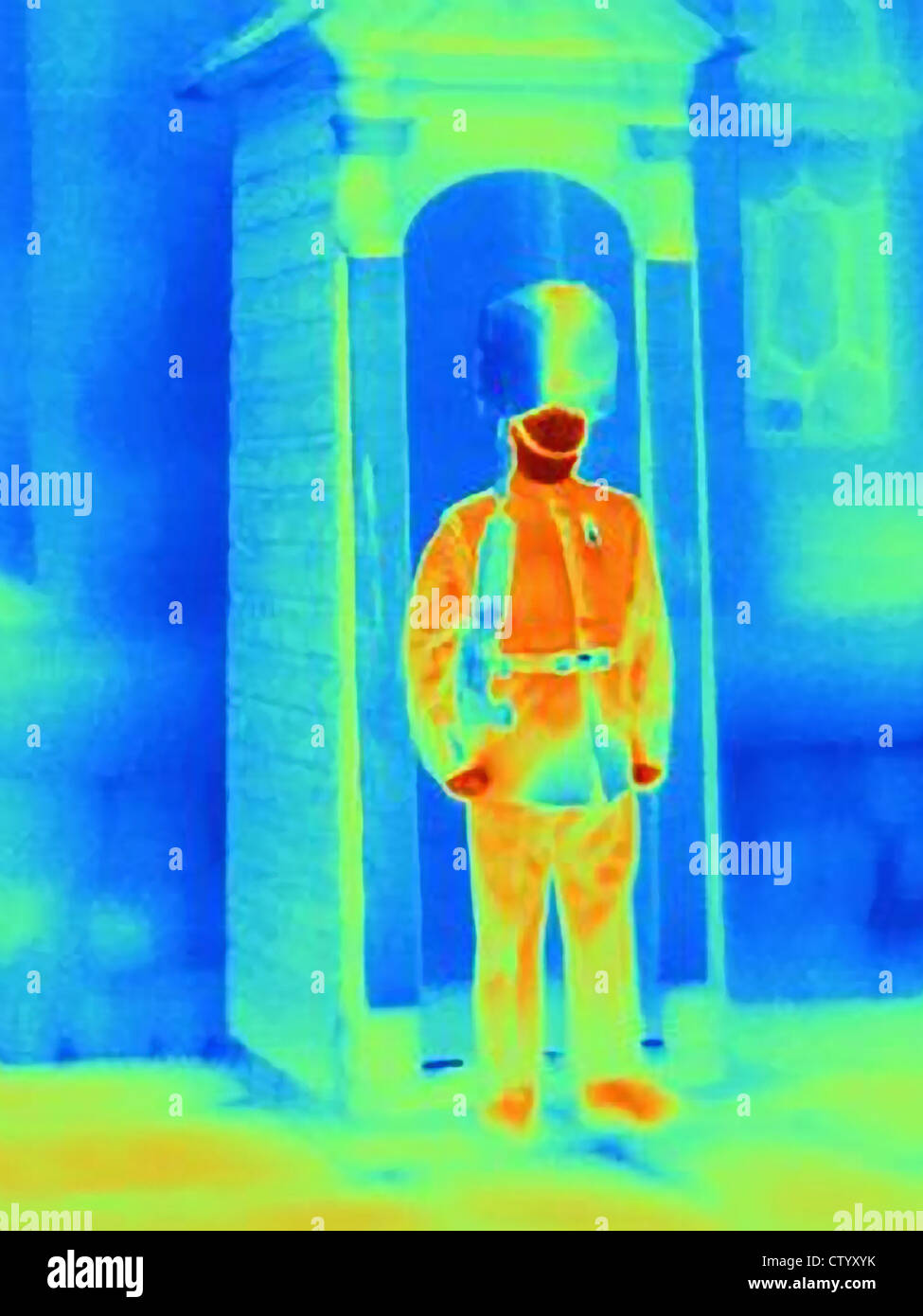 Thermal image of Tower of London guard - Stock Image