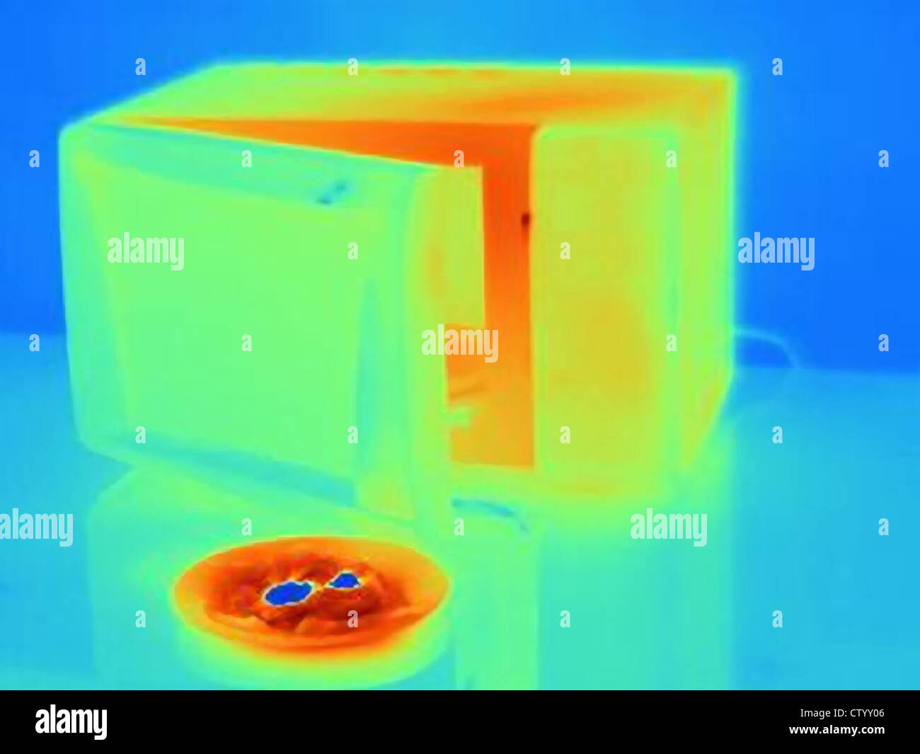 Thermal image of microwave and food - Stock Image