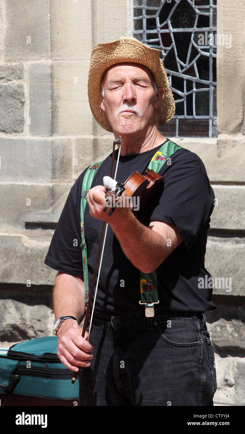 Folk musician playing the fiddle at Durham Folk Party 2012 Stock Photo