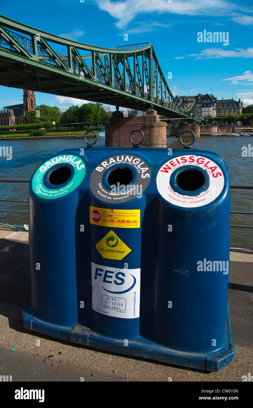 recycling bins by Main river Frankfurt am Main city state of Hesse Germany Europe Stock Photo