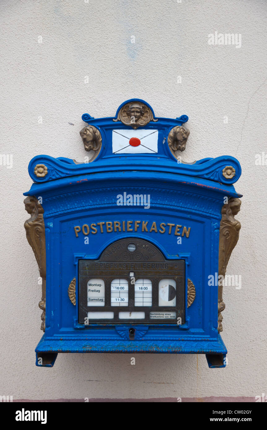 Postal mail letter box Wiesbaden city state of Hesse Germany Europe - Stock Image
