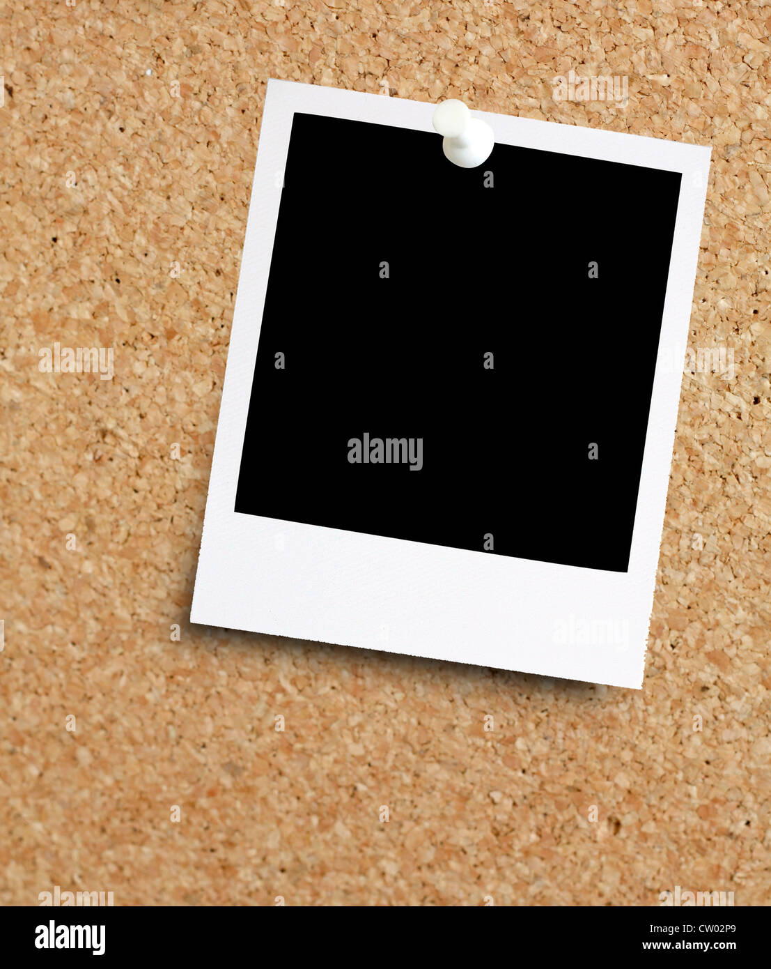 Instant photo on noticeboard - Stock Image