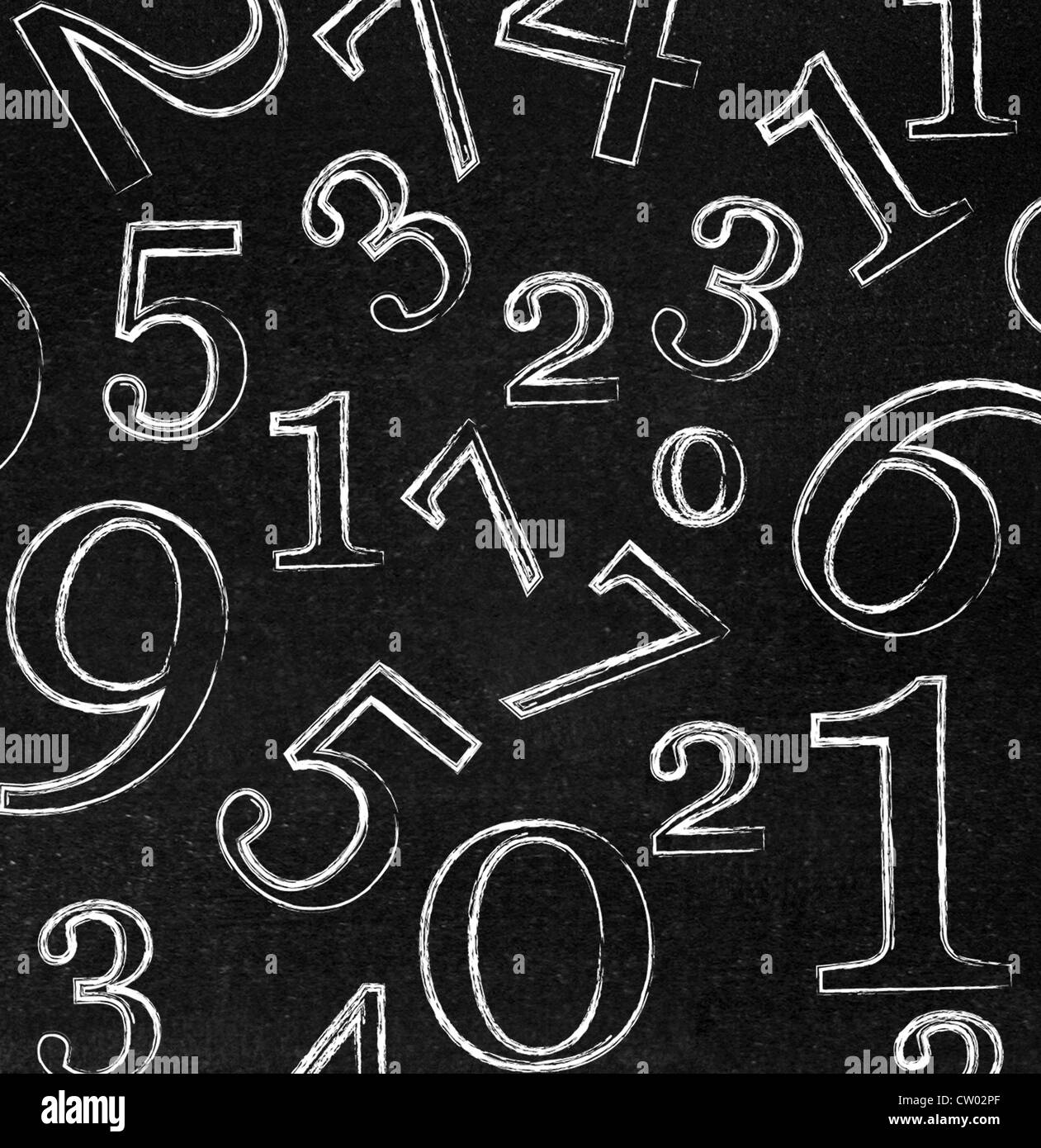 Numbers on blackboard - Stock Image