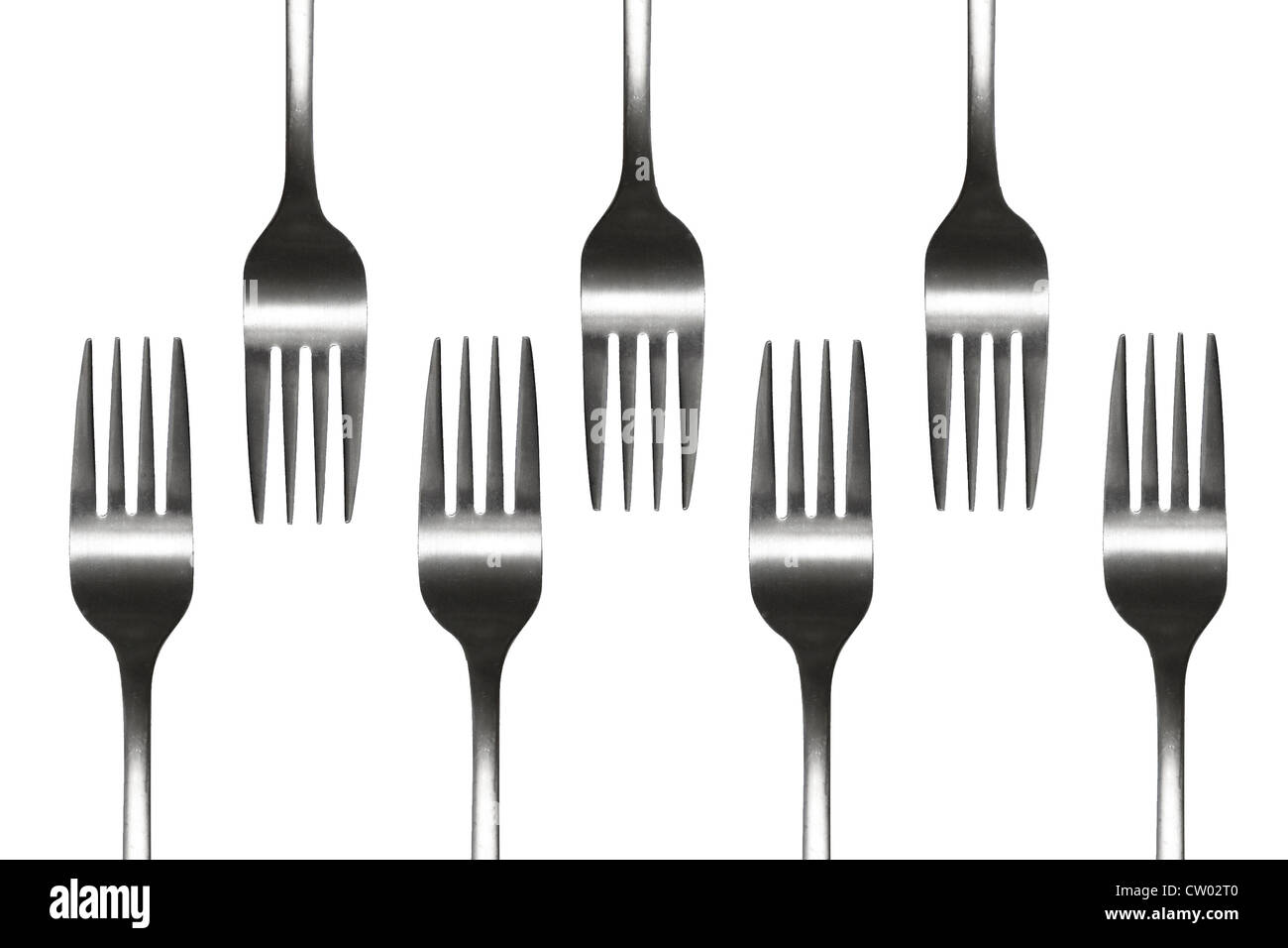 Forks isolated on white - Stock Image