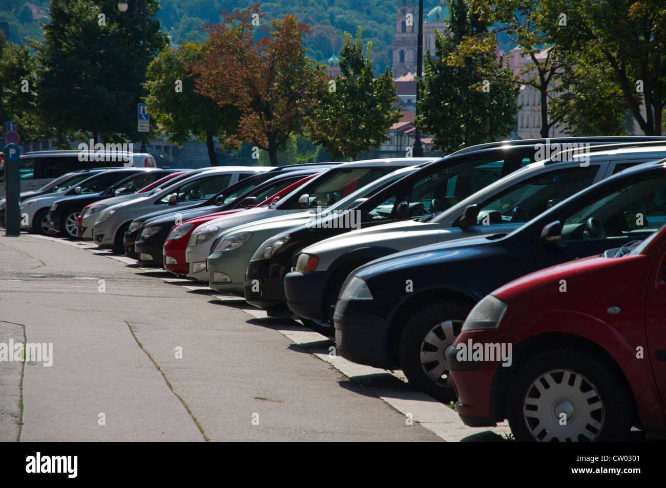 Parked cars Prague Czech Republic Europe - Stock Image