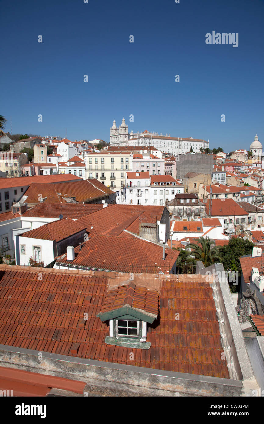 Aerial view of village rooftops - Stock Image