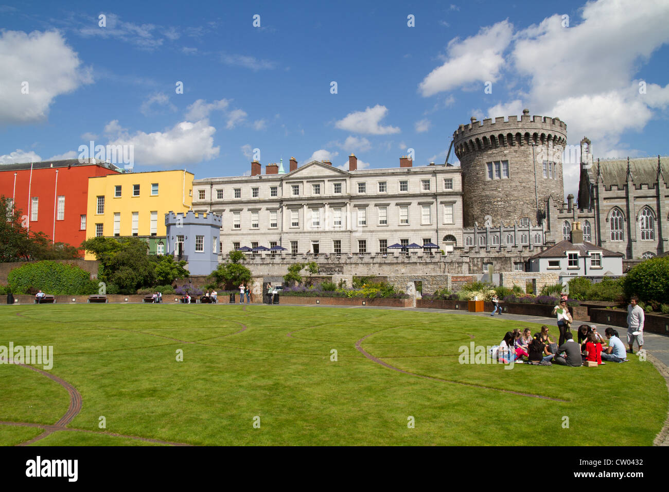 Dublin Castle grounds and park, Dublin City Ireland - Stock Image
