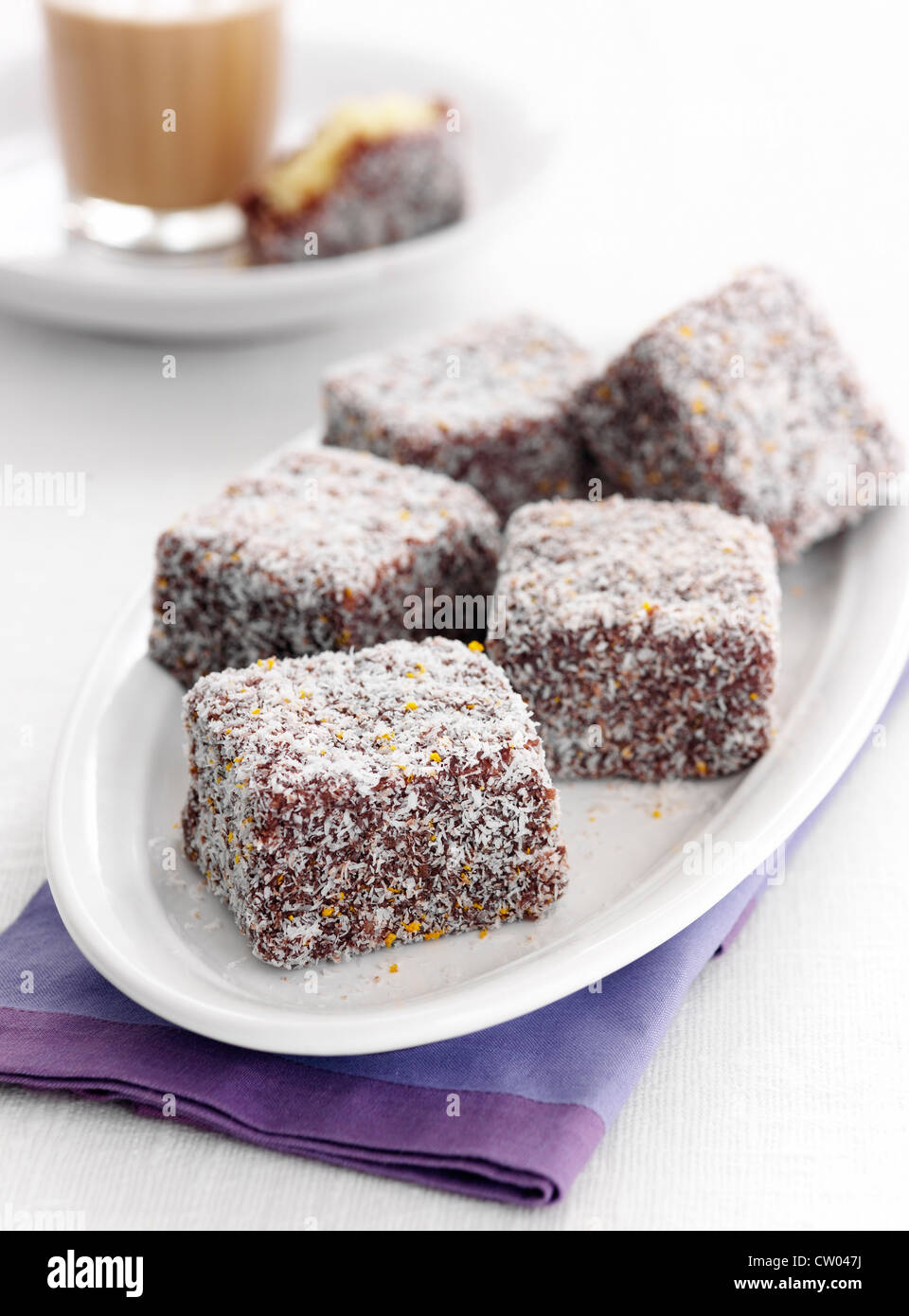 Plate of lamingtons cookies - Stock Image