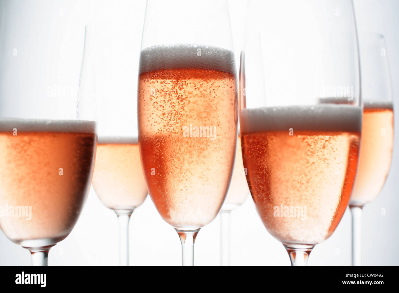 Close up of glasses of champagne - Stock Image