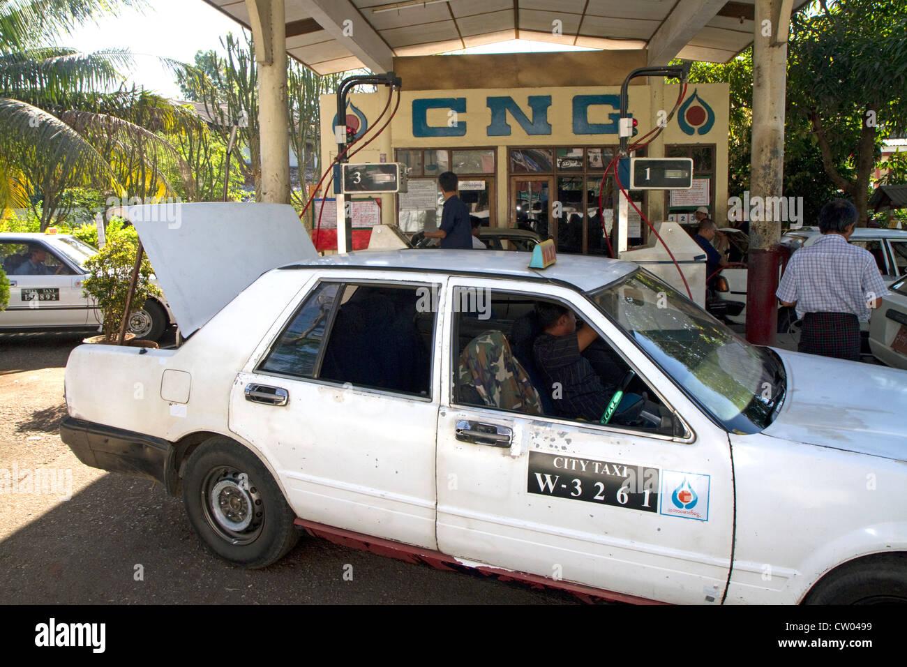 Compressed natural gas station in (Rangoon) Yangon, (Burma) Myanmar. - Stock Image