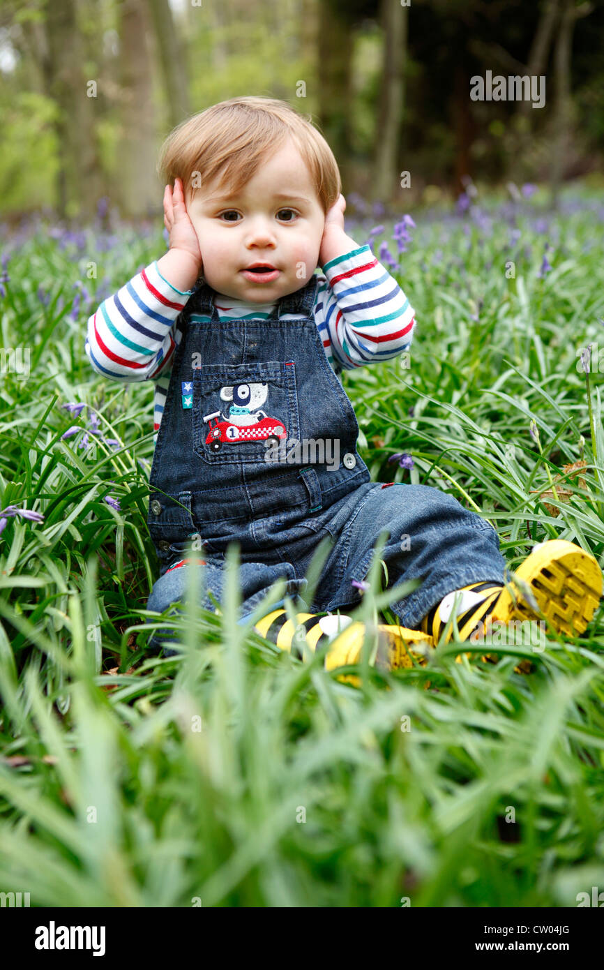 Boy covering his ears in meadow - Stock Image