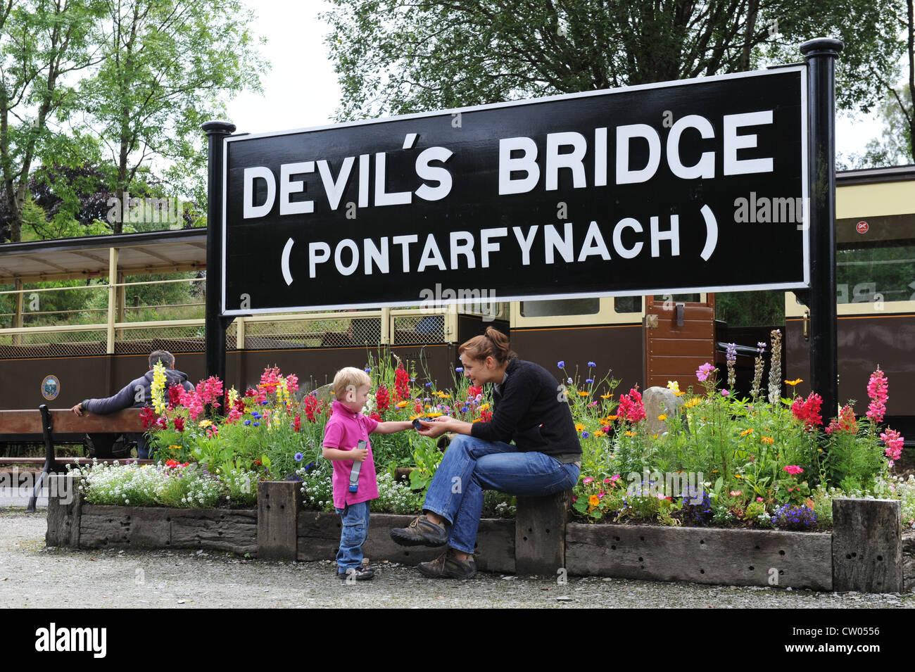 Vale of Rheidol railway station at Devil's Bridge Wales Uk - Stock Image