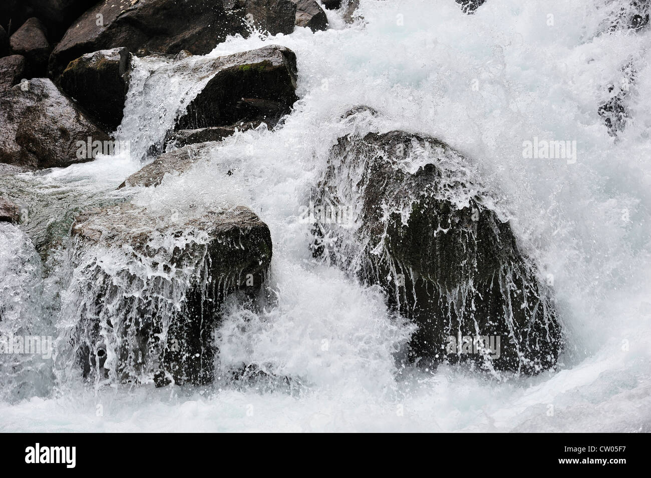 Boulders in waterfall in the Hautes-Pyrénées near Cauterets, Pyrenees, France Stock Photo