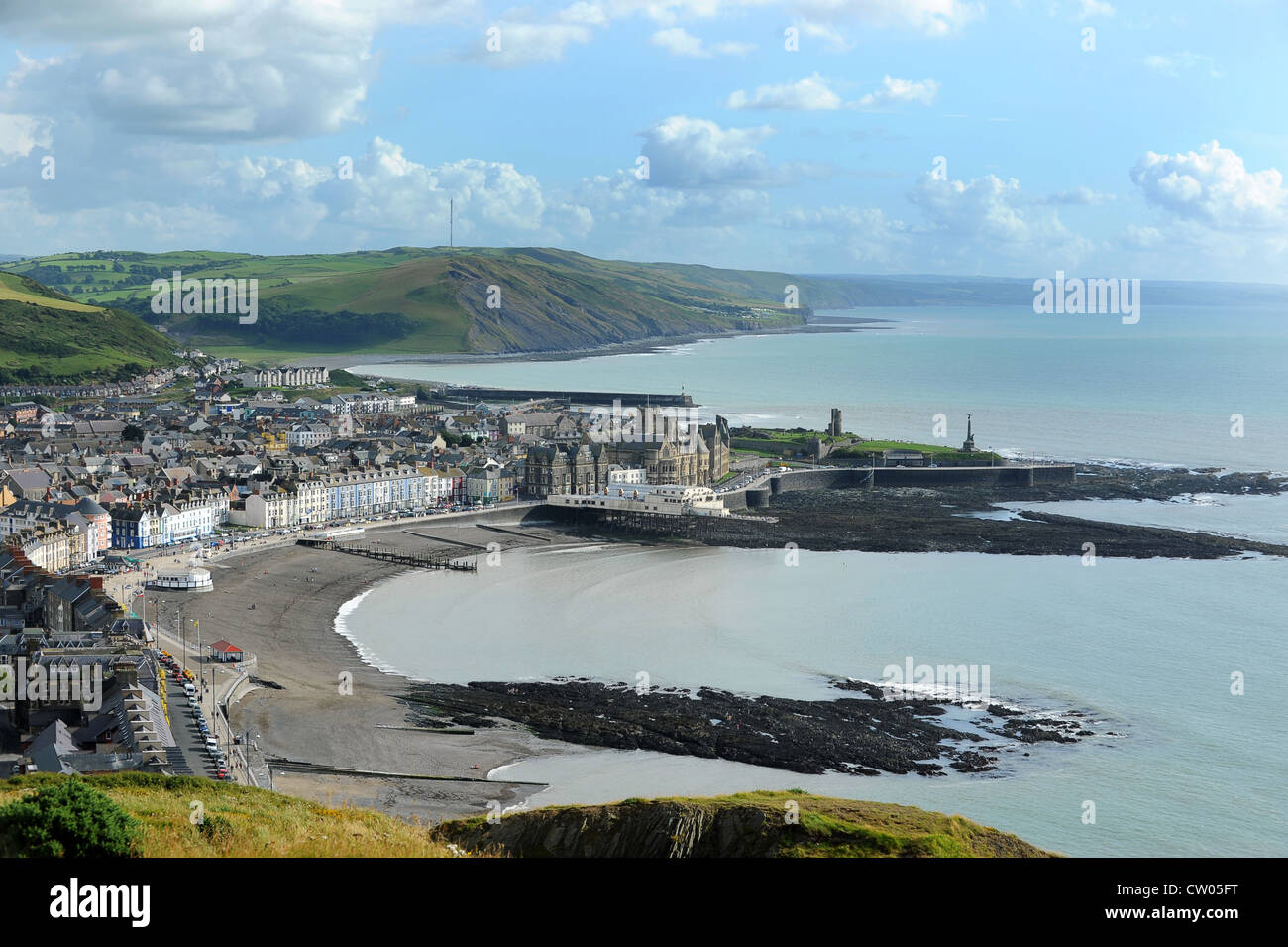 Aerial view of Aberystwyth town from Constitution Hill Ceredigion Wales. - Stock Image