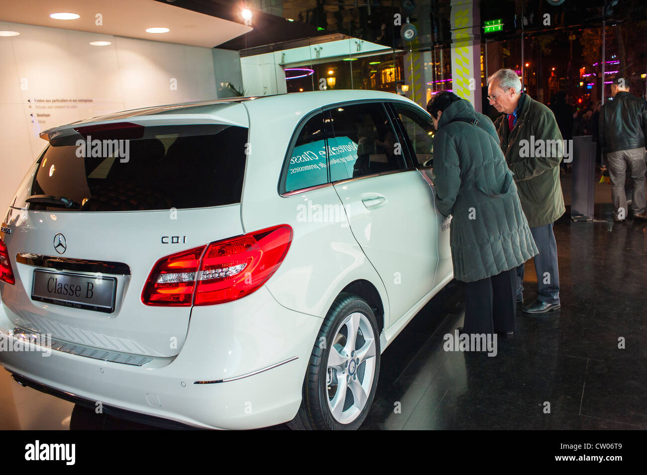 Paris, France, Couple Shopping in Luxury New Car Showroom, Mercedes Benz, CD1 Stock Photo