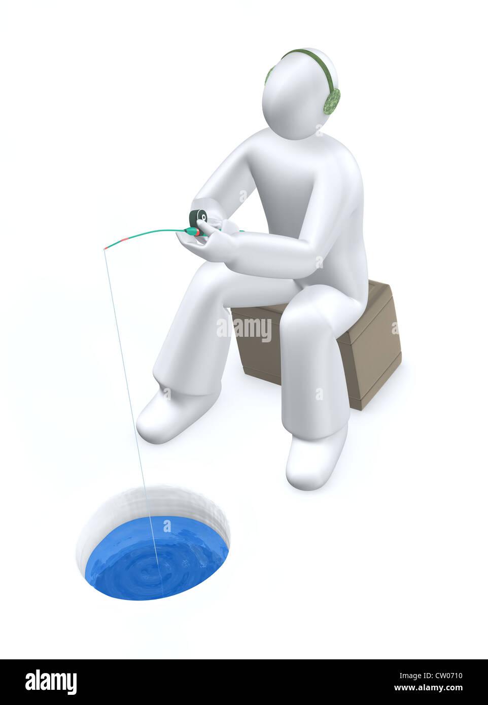 Ice fishing - Stock Image