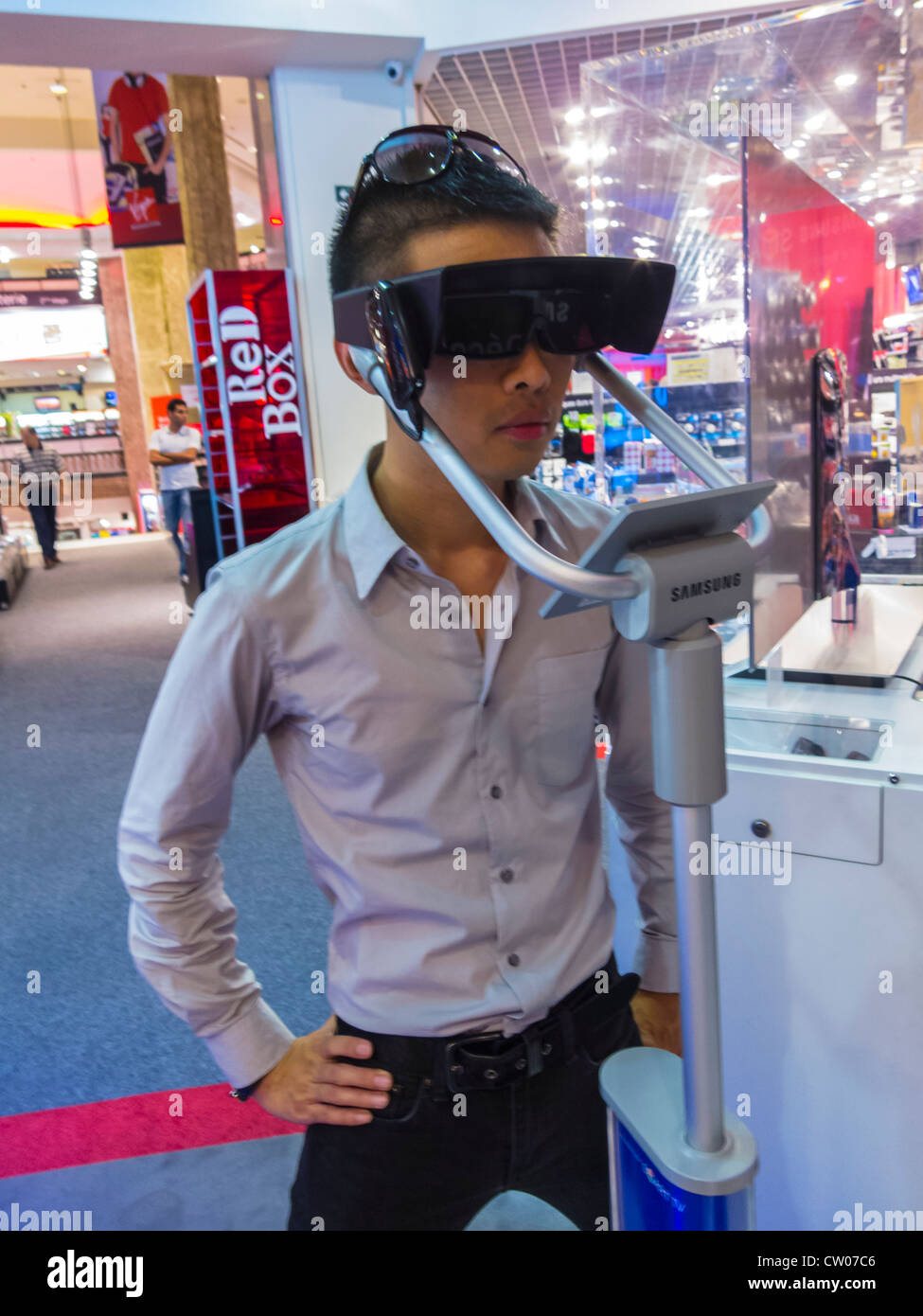 Paris, France, Chinese Man Using Three Dimensional Glasses 3D for High Definition T.V. in VIrgin Store, (Closed) - Stock Image