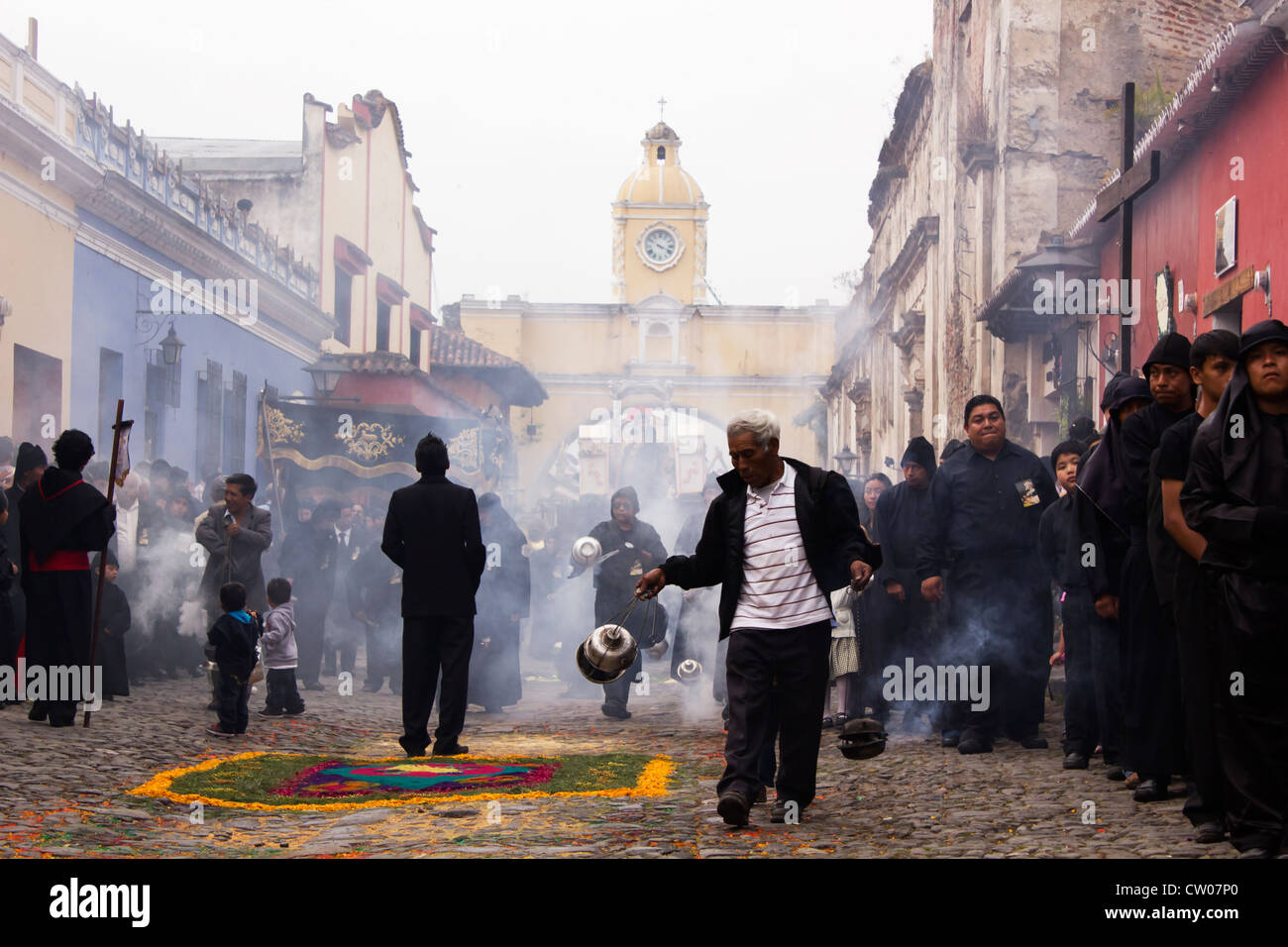 Antigua Guatemala streets for Holy Week - Stock Image