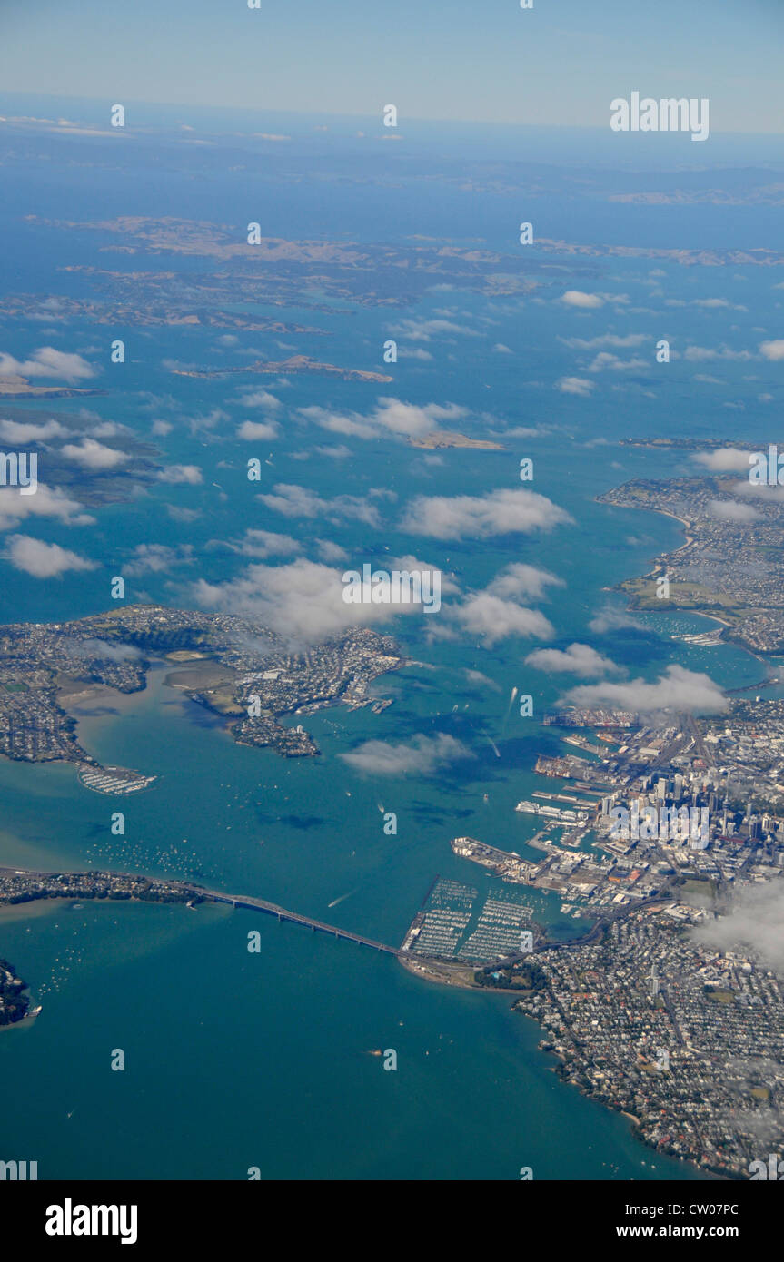 Air view of Auckland city and Auckland harbour bridge, North Island in New Zealand - Stock Image