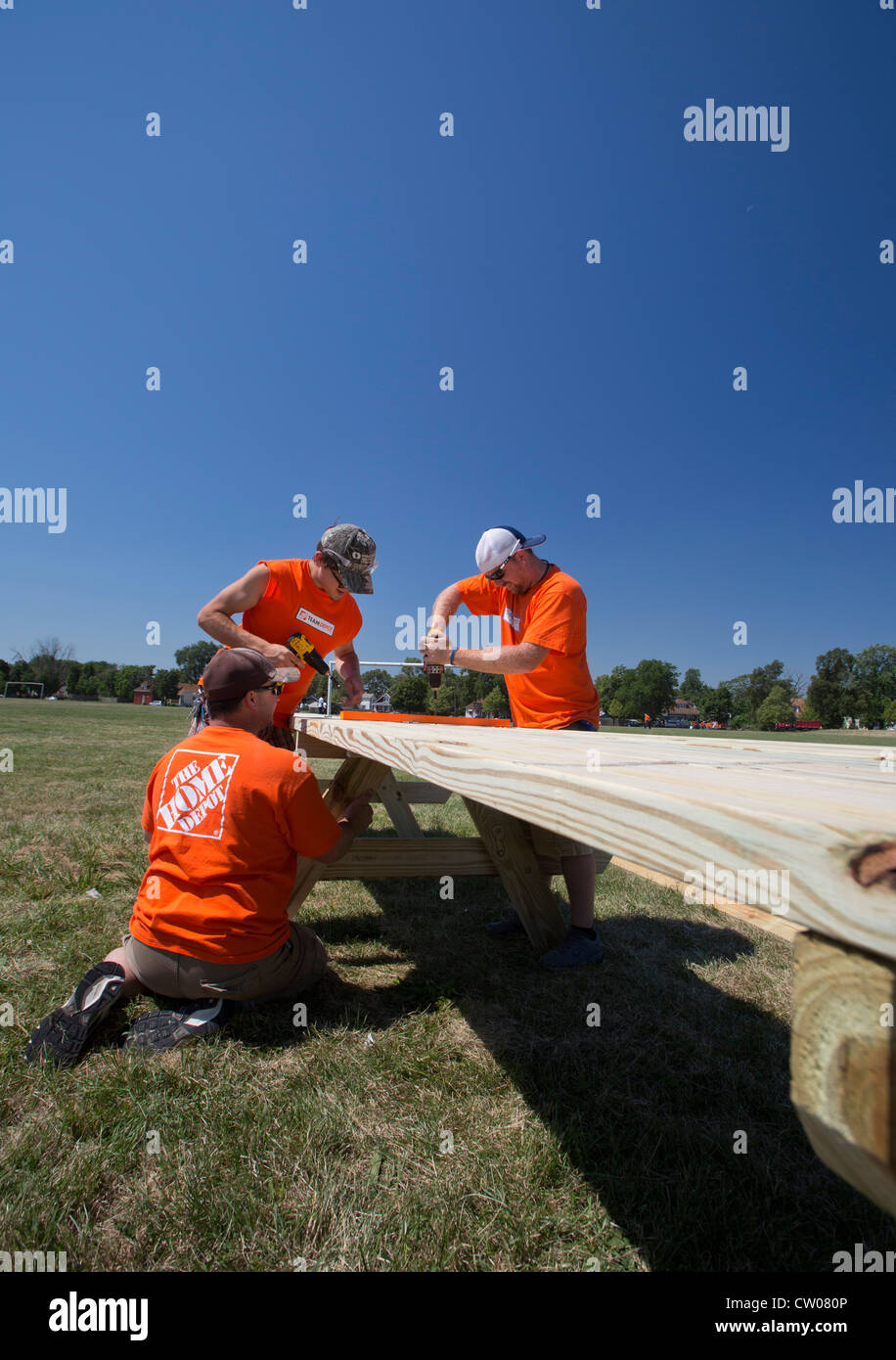 Detroit, Michigan - Volunteers from Home Depot build picnic tables on home depot springfield mo, home depot highlands ranch, home depot vallejo, home depot colorado springs, home depot glendale, home depot thunder bay, home depot idaho falls, home depot bonita springs, home depot beaverton, home depot lompoc, home depot scottsdale, home depot pomona, home depot corvallis, home depot overland park, home depot sacramento, home depot chesapeake, home depot santa clara, home depot oxnard, home depot provo, home depot cincinnati,