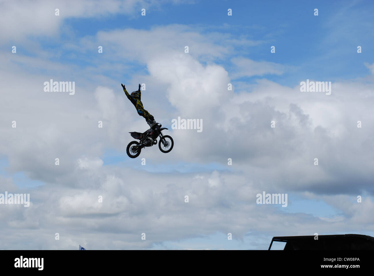 I took this while at a truck show in Scotland of a stunman jumping ramps. Stock Photo