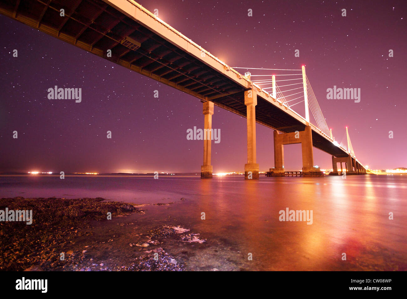 Star filled night across the Moray Firth and Kessock Bridge Highland Scotland - Stock Image
