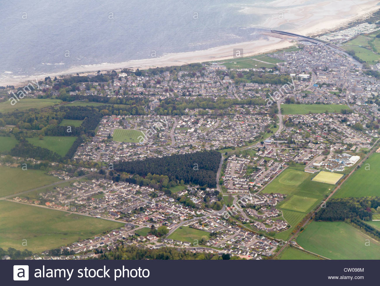 An aerial view of Nairn in Scotland. - Stock Image