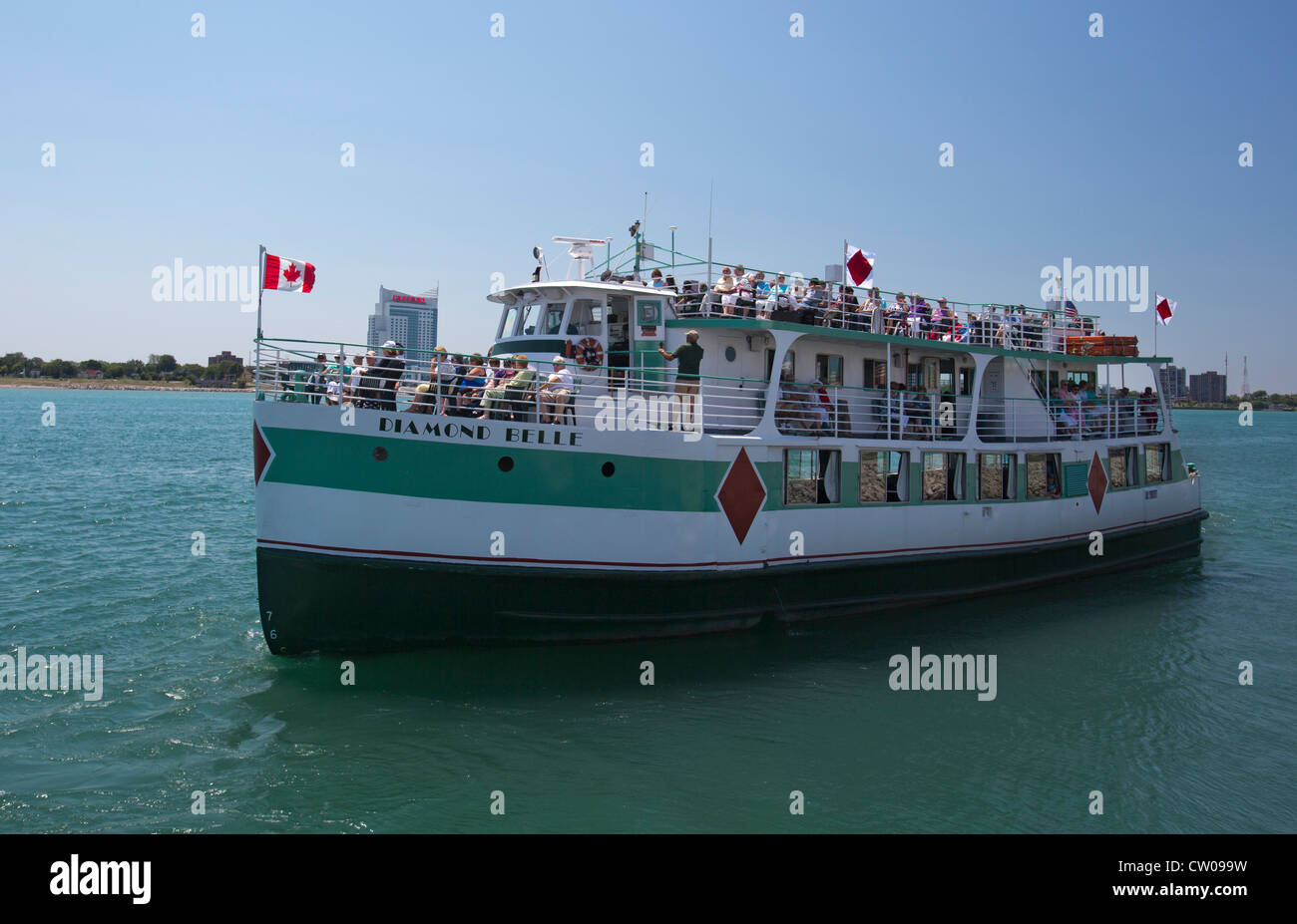 Cruise Boat on the Detroit River - Stock Image