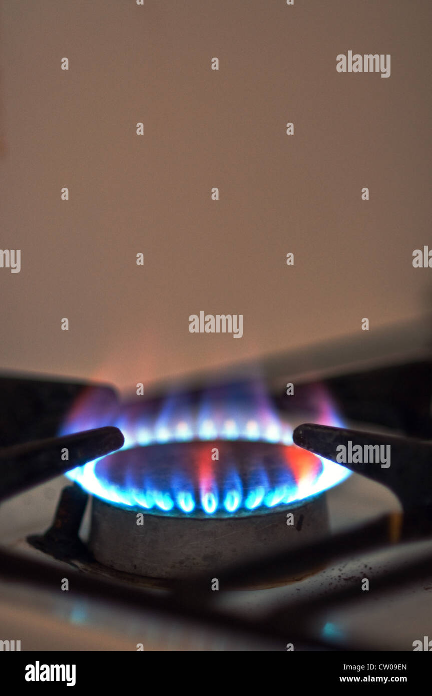 Close up image of an old gas stove burner - Stock Image