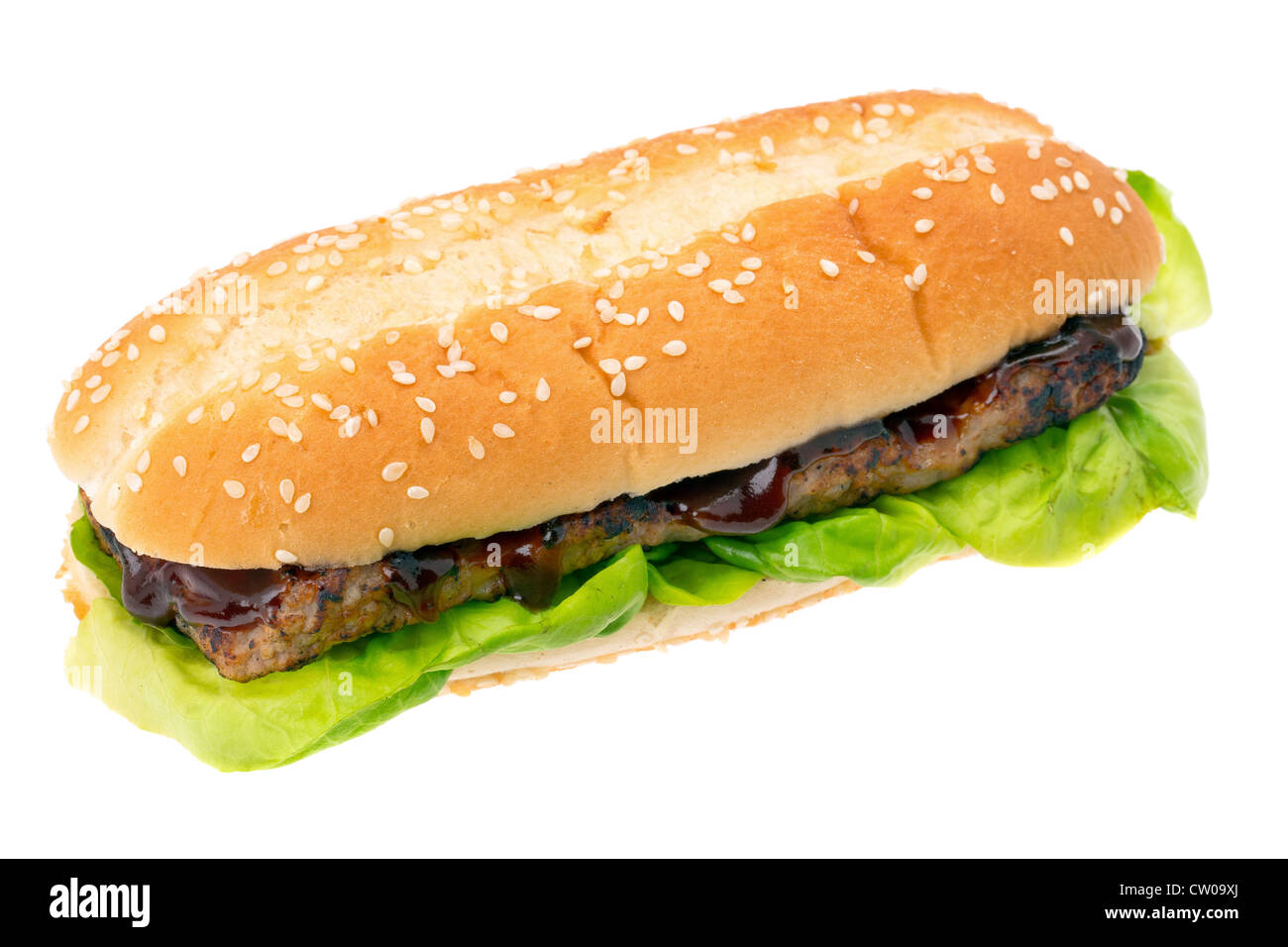 BBQ spare rib burger sandwich - studio shot with a white background - Stock Image