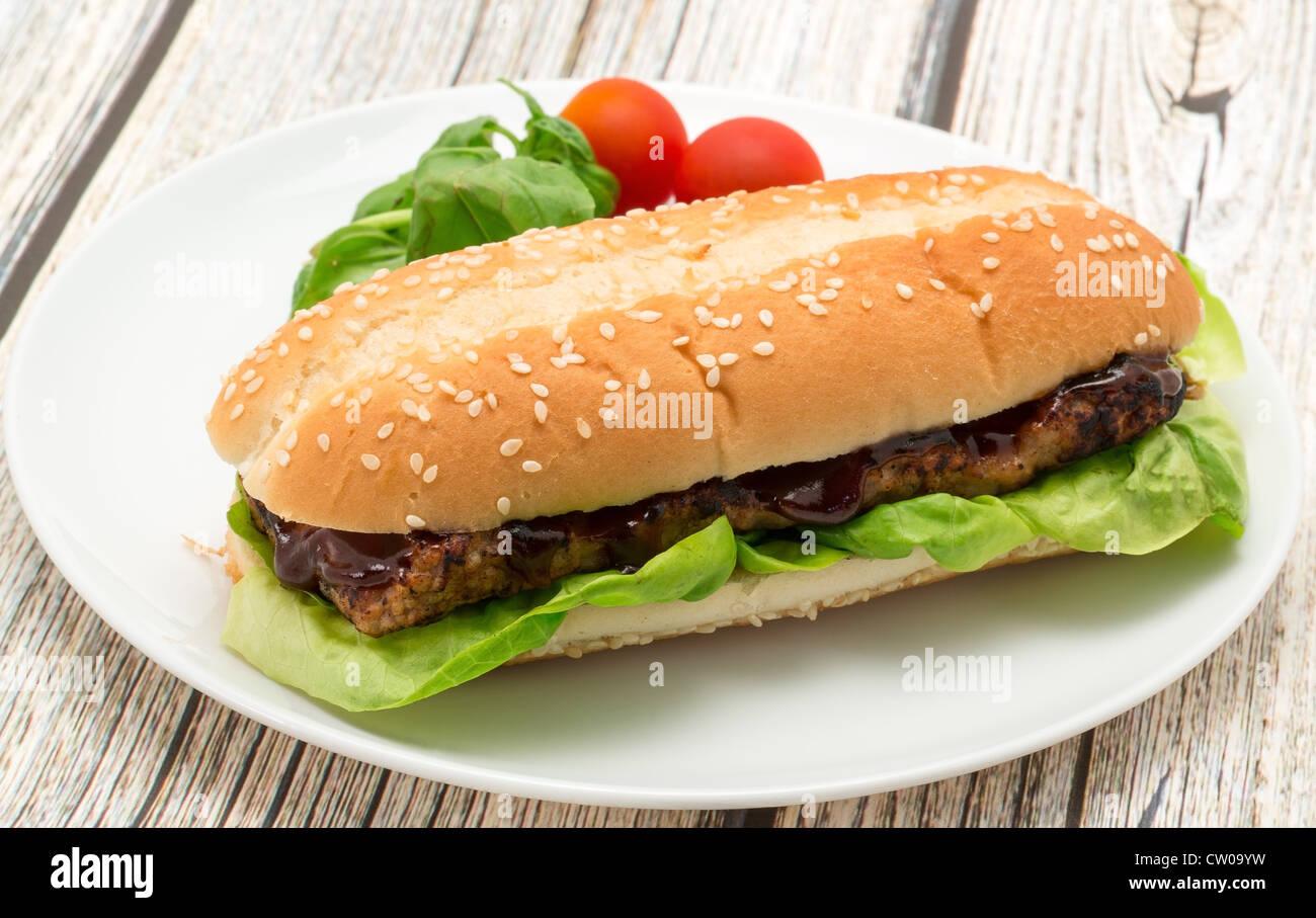 BBQ spare rib burger sandwich - studio shot - Stock Image