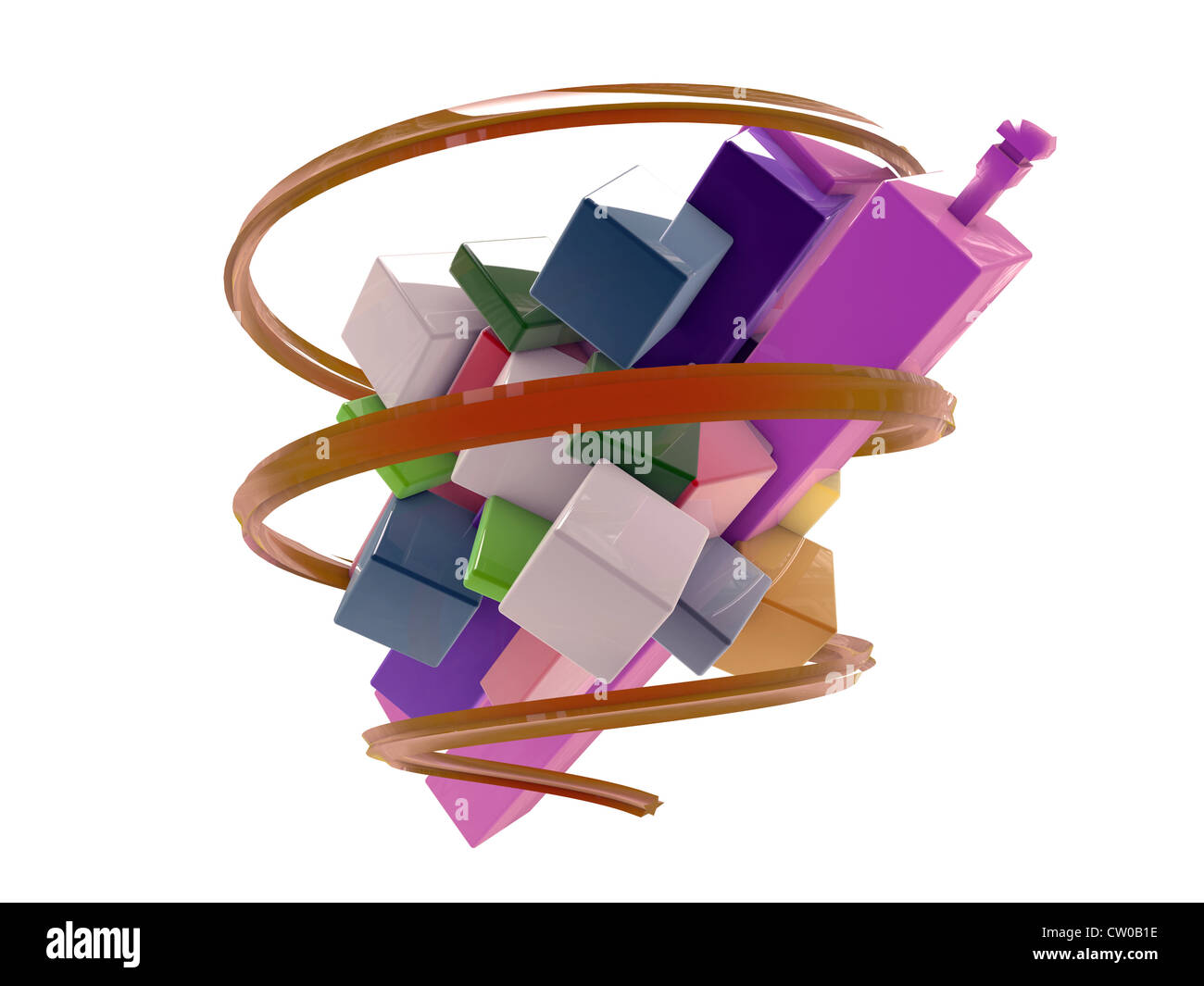 Three Boxes On Light Background Stock Photos Origami Fireworks Diagram Abstract Shape Isolated White Image