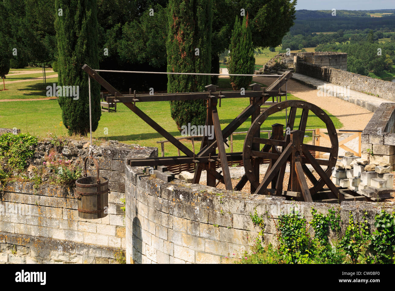 Lifting machine, Chinon, Loire Valley, France, Replica of a machine used to lift building materials in medieval - Stock Image