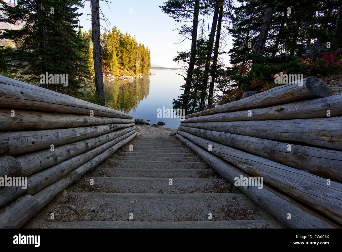 Looking down the portage ramp to Leigh Lake, in Grand Teton National Park, Wyoming. Stock Photo