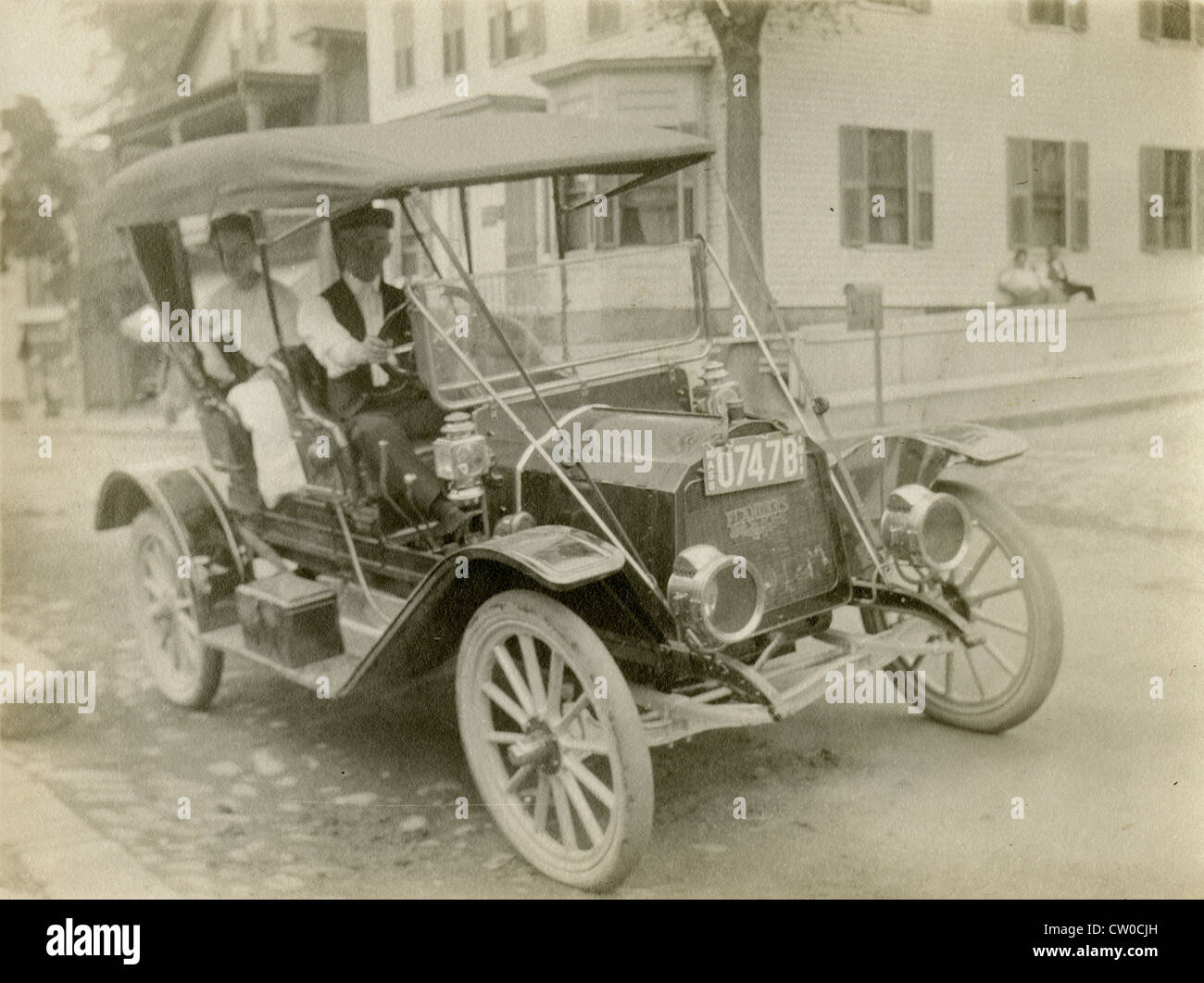 Circa 1910s photograph, antique Flanders car. The license plate is Massachusetts, 1911. - Stock Image