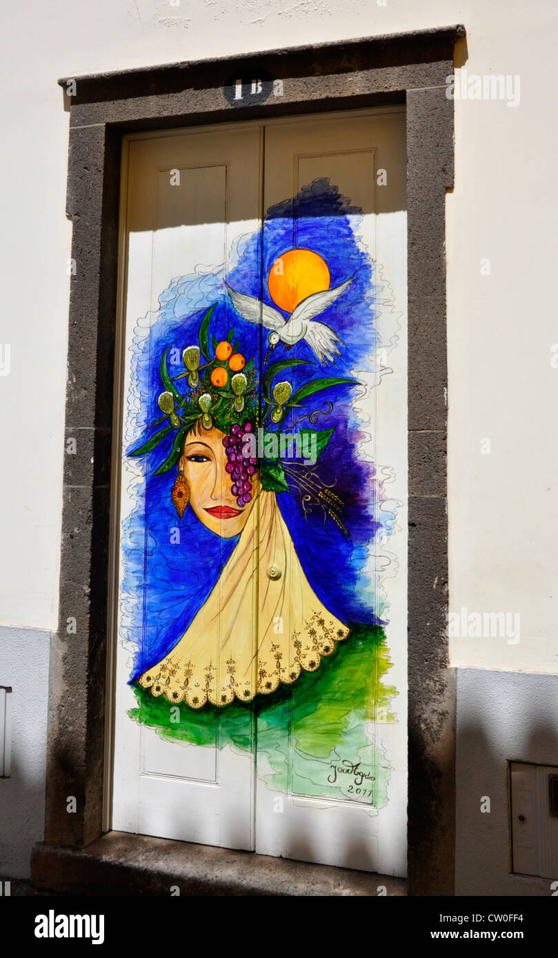Portugal - Madeira island - Funchal Zona Velha - decorated house door - by local artist - plan to brighten up area Stock Photo