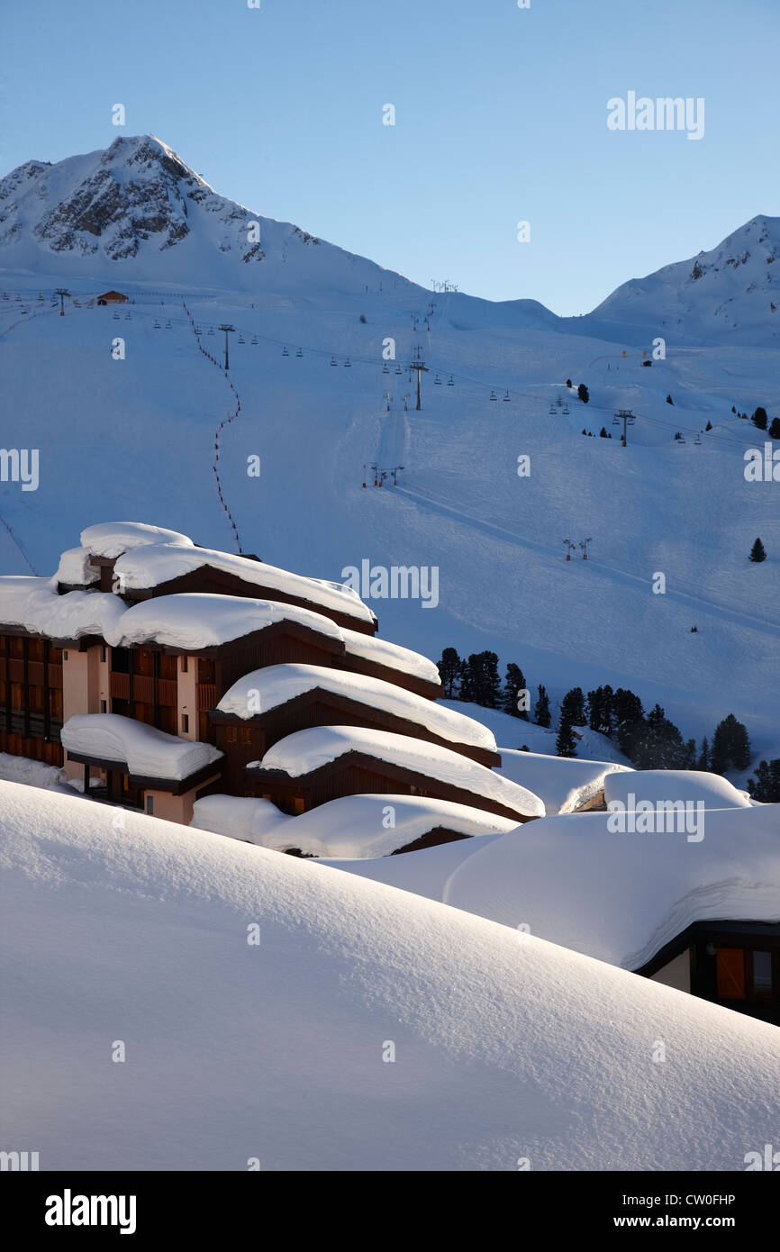 Building in snow drift - Stock Image