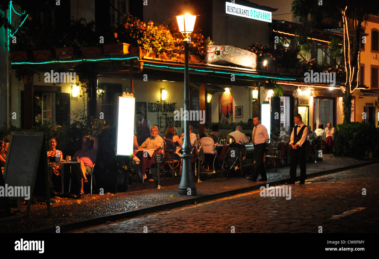 Portugal - Funchal Zona Velha - open air restaurant night life - on the Rua D Carlos in the old town Stock Photo