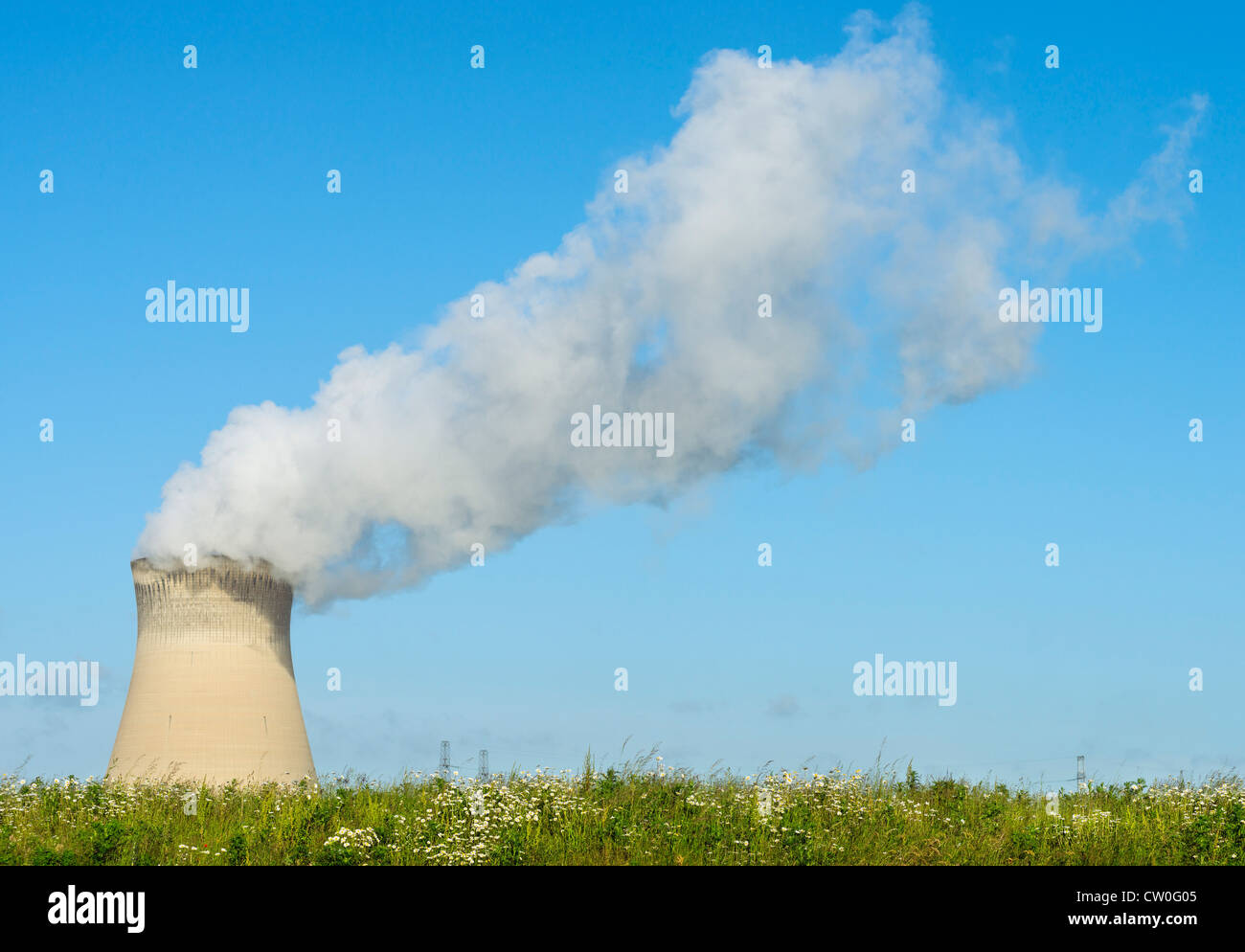 Smokestack of nuclear power plant Stock Photo