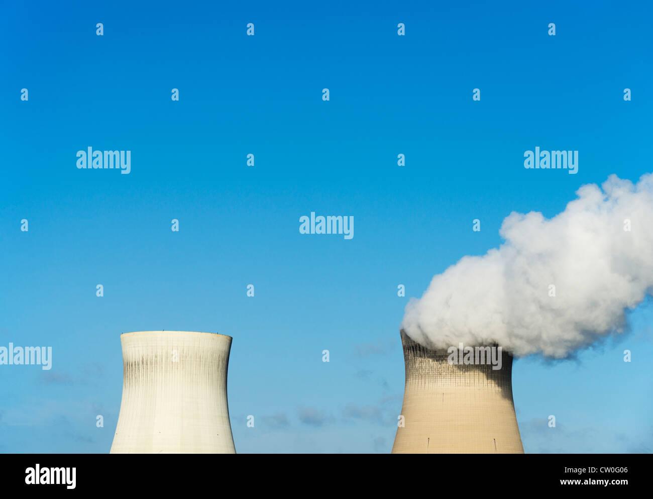 Smokestacks of nuclear power plant - Stock Image