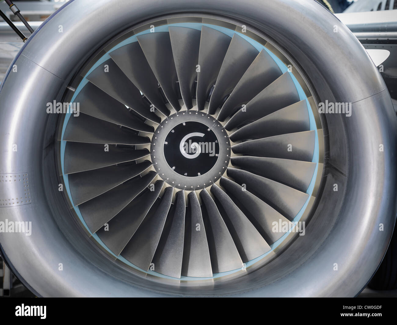 Close up of still jet airplane engine - Stock Image