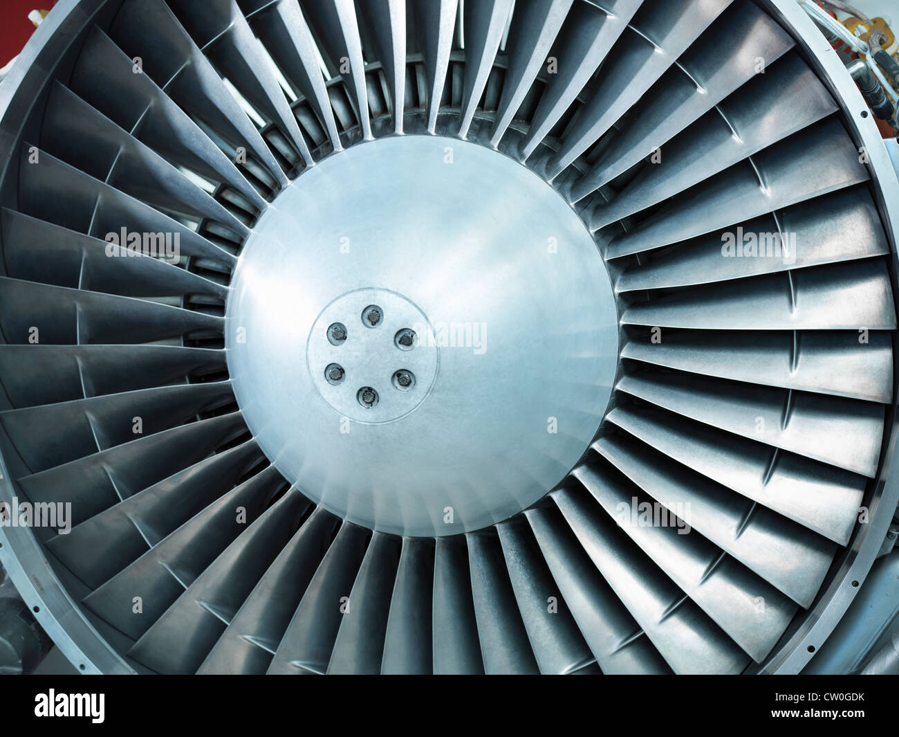 Close up of still jet airplane engine - Stock Image
