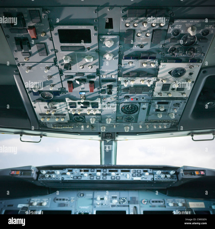 Empty cockpit of jet airplane - Stock Image